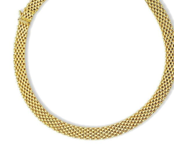 14K Yellow Gold Panther Necklace 10mm Wide 7 Row Shiny Chain Link 17