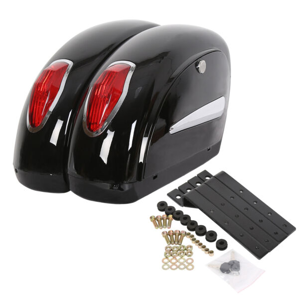 Black Universal Motorcycle Saddle Bag Saddlebags Trunk For Honda Harley Yamaha $72.50
