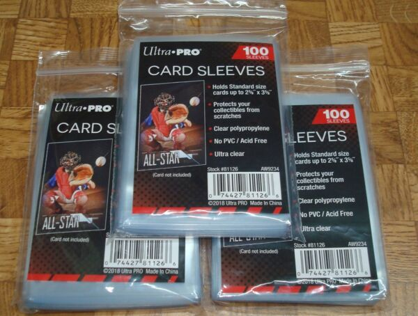 300 NEW SOFT PENNY ULTRA PRO BASEBALL CARD POLY SLEEVES fits 3X4 TOPLOADERS