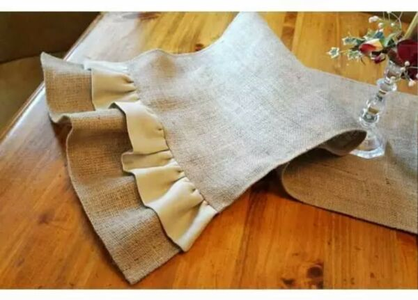 Natural Burlap Table Runner with Double Ruffles Various Sizes Free Shipping