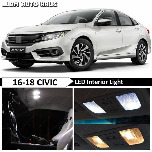 10 pcs White Interior LED Lights Bulbs Replacement Fits 2016-2018 Honda Civic