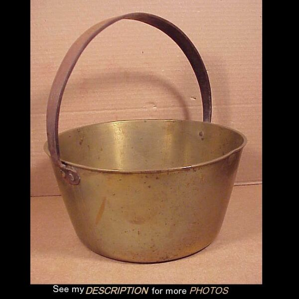 Circa Early 1800s Heavy 7-12Lbs Cast Brass Pail w Forged Iron Handle