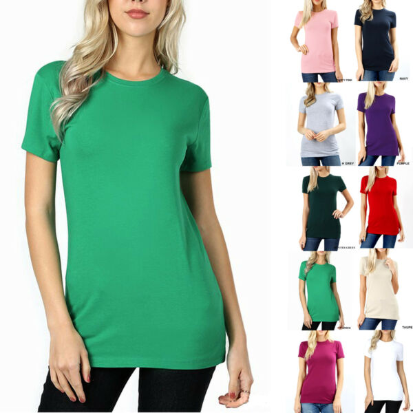 SHORT SLEEVE CREW NECK Basic Women T-Shirt Cotton Long Top Fitted Plain Stretch $8.95