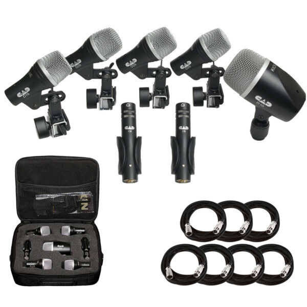 CAD Audio Stage7 Premium 7-Piece Drum Instrument Mic Pack + 7 Mic Cables 20 Ft.