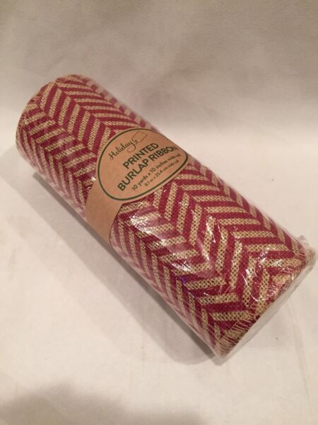 Printed Burlap Ribbon 10 Yards X 10 Inches Wide Roll NEW