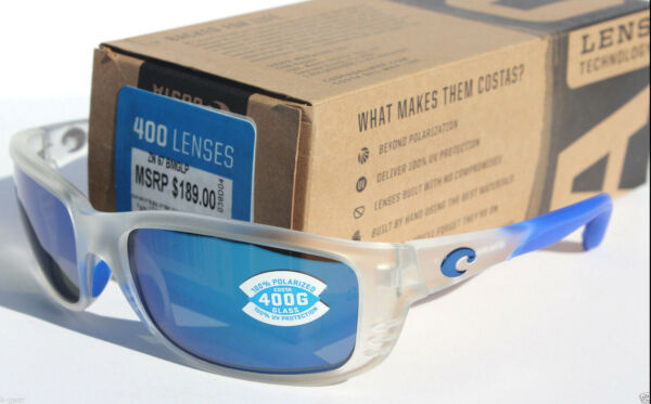 COSTA DEL MAR Zane POLARIZED Sunglasses Matte Crystal/Blue Mirror 400 GLASS RARE