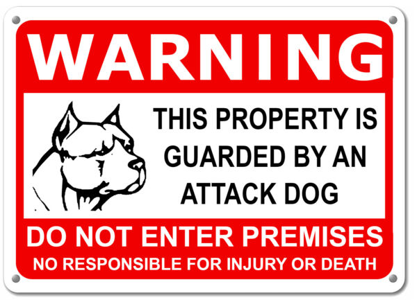 "Guard Dog on Duty HORIZONTAL Sign Beware of Dog Sign Dogs Will Bite 11""x7"" Sign $6.49"
