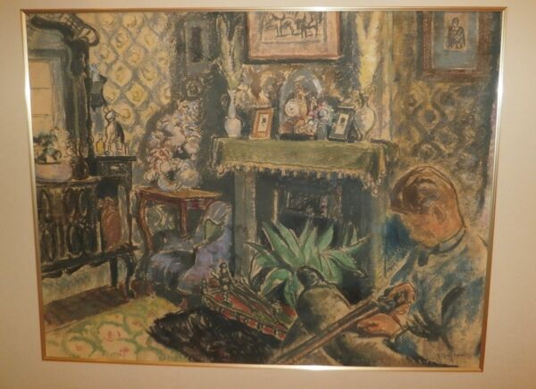 Young Man with Shotgun in Living RoomFireplace Pastel-1920s-Bernard Gussow