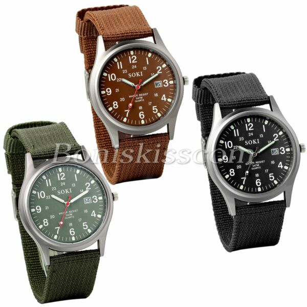 INFANTRY Men#x27;s Military Army Sports Quartz Date Display Wrist Watch Nylon Strap