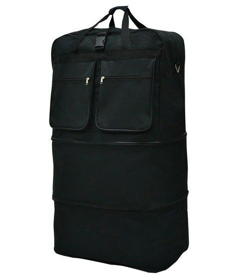 Large Black Expandable Rolling Wheeled Duffle Bag Spinner Luggage (36-Inch)