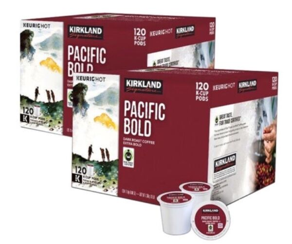 KIRKLAND PACIFIC BOLD K Cups 120 x 2 DARK ROAST COFFEE 240 cups EXTRA BOLD FRESH