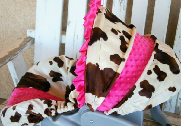 baby infant car seat cover and hood cover brown cow/horse print with pink minky