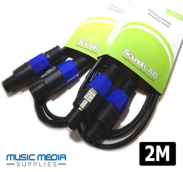 2x 2m Speaker Amp Lead Cable PA Sound Stage Amplifier Lead PA (1 Pair)