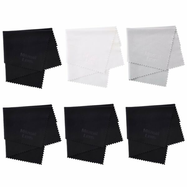 Microfiber Cleaning Cloth 6-pack ( 4 Black + 1 Grey + 1 White ) 6x7