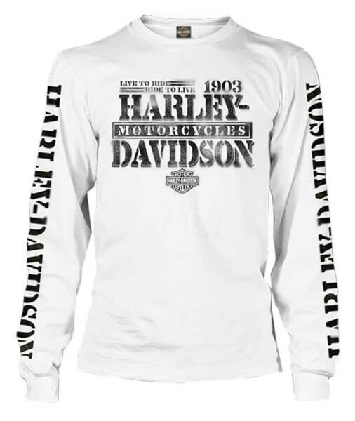 Harley Davidson Men#x27;s Distressed Freedom Fighter Long Sleeve Shirt White $41.95