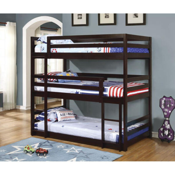Coaster Cappuccino Triple Layer Convertible Solid Pine Wood Youth Bunk Bed
