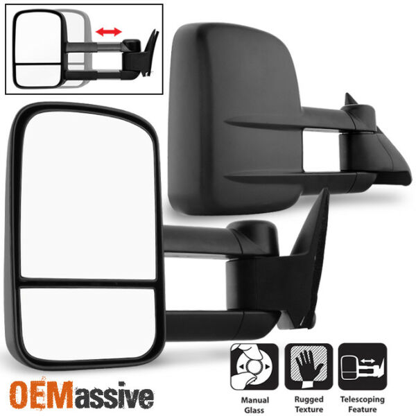Fit 1988-98 Chevy GMC CK 1500 2500 3500 Towing Manual Side Mirrors Replacement