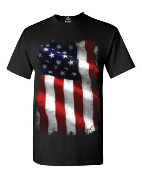 Large American Flag Patriotic T-shirt 4th of July USA Flag Shirts $11.99