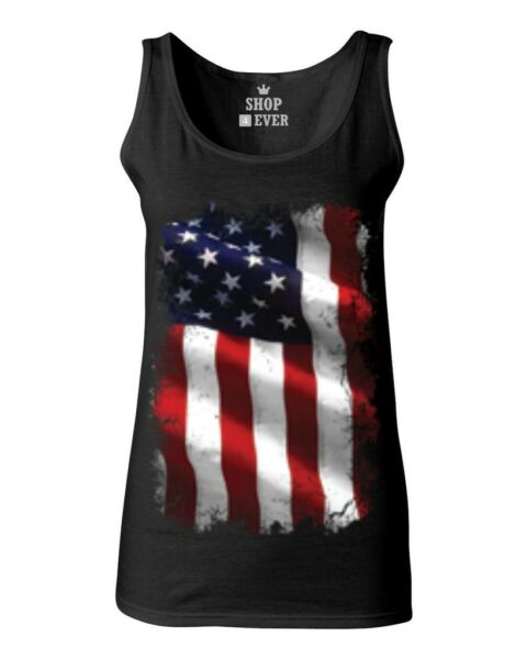 Large American Flag Patriotic Women's Tank Top 4th of July USA Flag Tee $14.99