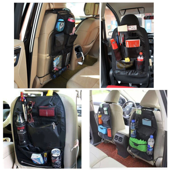 Car Seat Organizer Holder Multi-Pocket Black Carrier Headrest Storage Bag Hanger