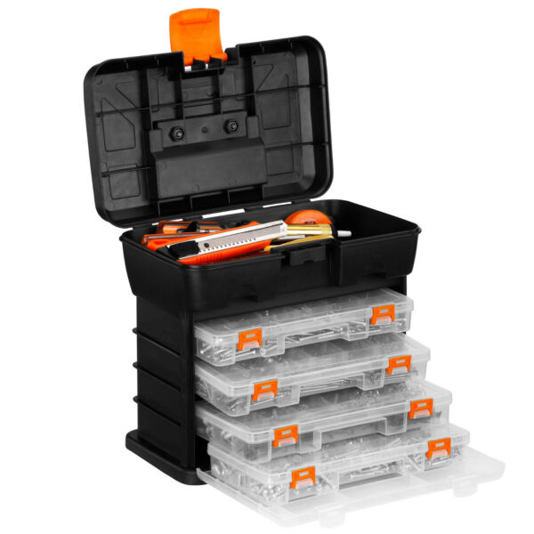 VonHaus Black Portable Hardware Arts Crafts Tool Organizer Storage Case Drawers