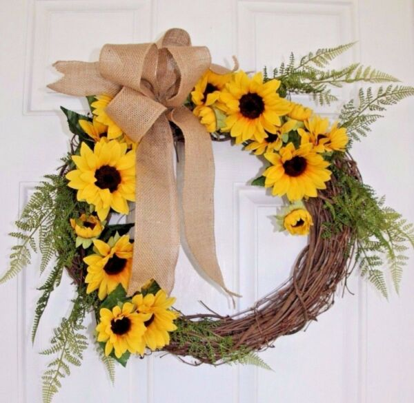Large SpringFall Sunflower Grapevine Wreath Silk Flowers Oversize Burlap Bow