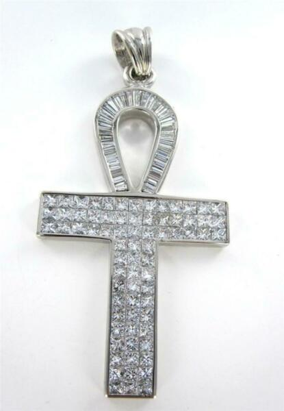 PENDANT CHARM KEY OF LIFE DIAMOND EGYPTIAN ANKH EGYPT 18KT WHITE GOLD 2+ OUNCES