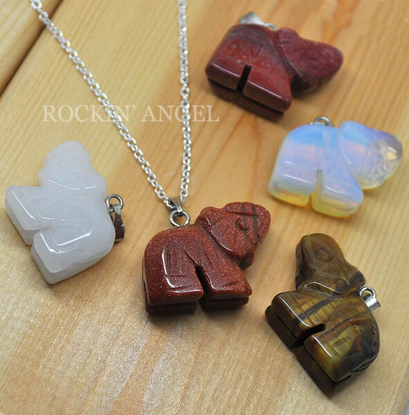 925 Silver amp; Carved Stone Elephant Pendant Necklace Quartz Crystal Reiki Healing