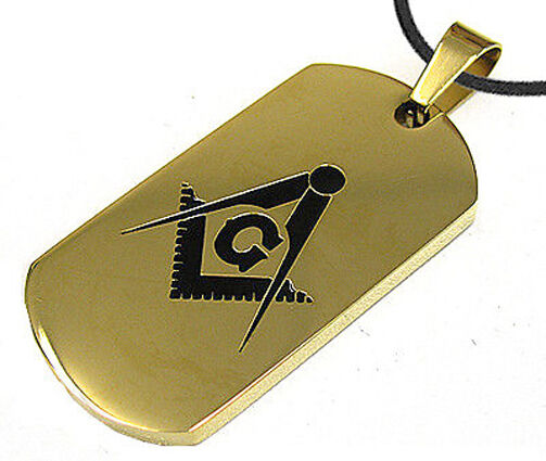 Gold Color Masonic Dog Tag Square amp; Compass Steel Dog Tag Pendant Chain Necklace $20.99