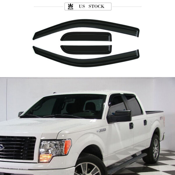 4pcs Fit 04-14 F150 SuperExtended Cab Smoke Tint Side Vent Shade Window Visors