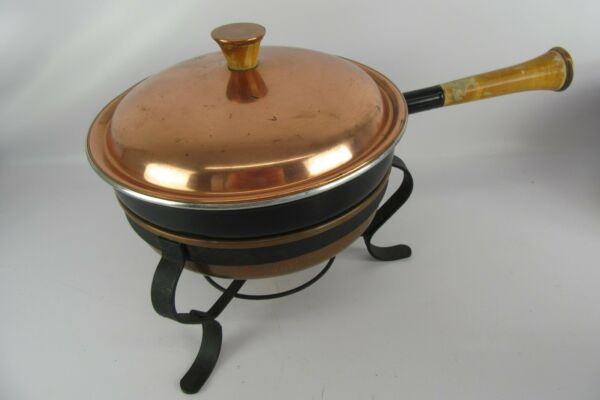 Vintage Copper & Wood Hostess Accessories Double Boiler Chafing Dish
