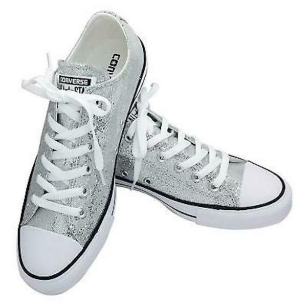 CONVERSE All-Star Ox Lo Top Sneakers Chuck Taylor Silver Glitter 135851C NWT