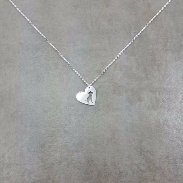 Heart Pit Bull Dog Silver Plated Necklace Gift Box Canine Breed Pet Love Animal $17.56