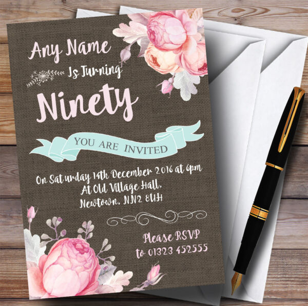 Vintage Burlap Style Floral 90th Personalised Birthday Party Invitations
