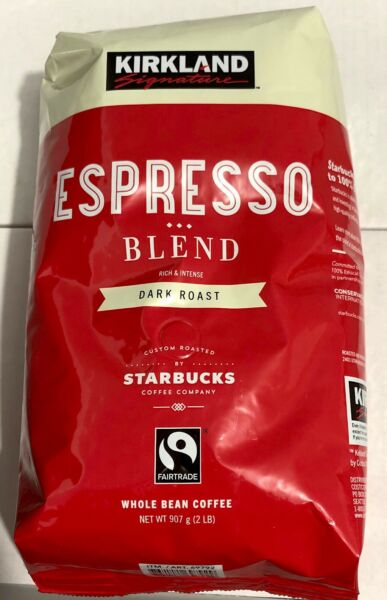 2 Lb Bag Kirkland Espresso Blend Dark Roast Whole Bean Coffee by Starbucks 32 Oz