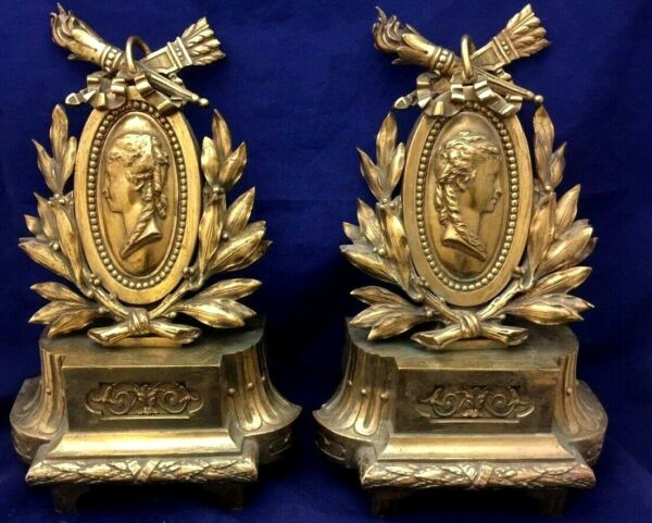 Pair Antique Fire Place Victorian Bronze French AndironsChenets Circa 1840-1880