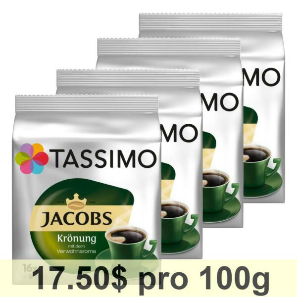 Tassimo Jacobs Krönung Rainforest Alliance Certified Pack of 4 4 x 16 T-Discs