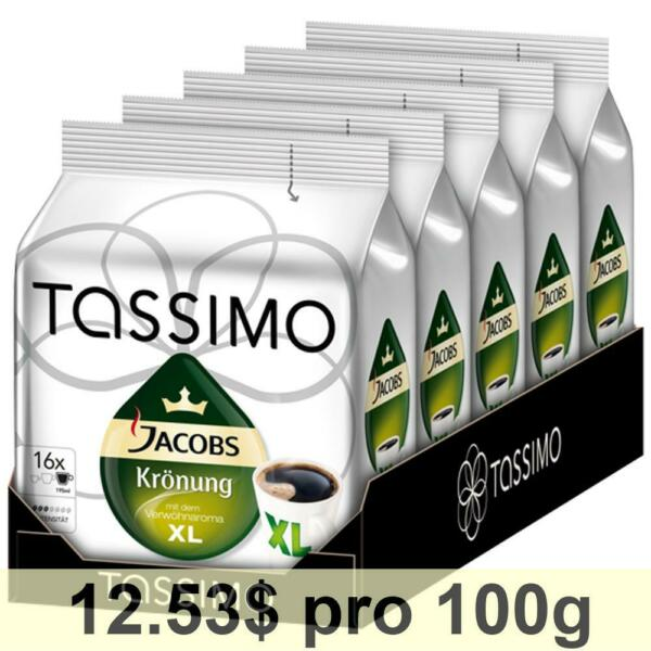 Tassimo Jacobs Krönung XL Pack of 5 5 x 16 T-Discs