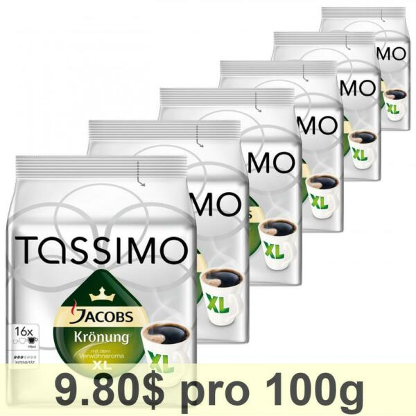 Tassimo Jacobs Krönung XL Pack of 6 6 x 16 T-Discs