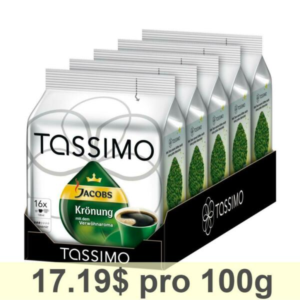 Tassimo Jacobs Krönung Rainforest Alliance Certified Pack of 5 5 x 16 T-Discs