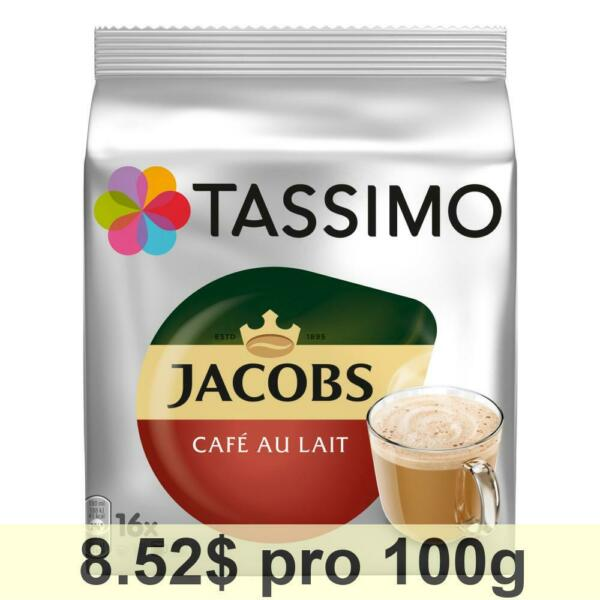 Tassimo Jacobs Café au Lait 5-Pack Capsule Milk Roasted Ground Coffee 80 T-Discs