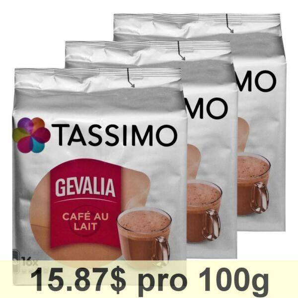 Tassimo Gevalia Cafe au Lait 3-Pack Milk Coffee Roasted Coffee 48 T-Discs
