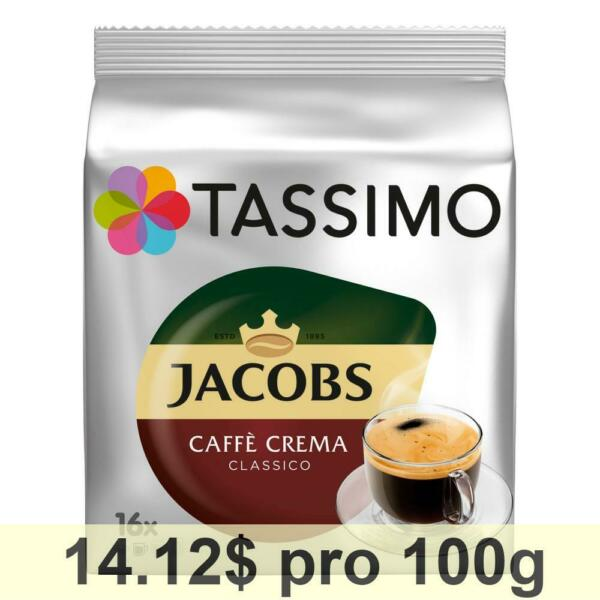 Tassimo Jacobs Caffè Crema Classico Coffee with fine Cream 5-Pack 5 x 16 T-Discs