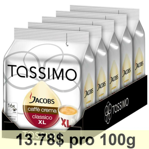 Tassimo Jacobs Caffè Crema XL Rainforest Alliance Pack of 5 5 x 16 T-Discs