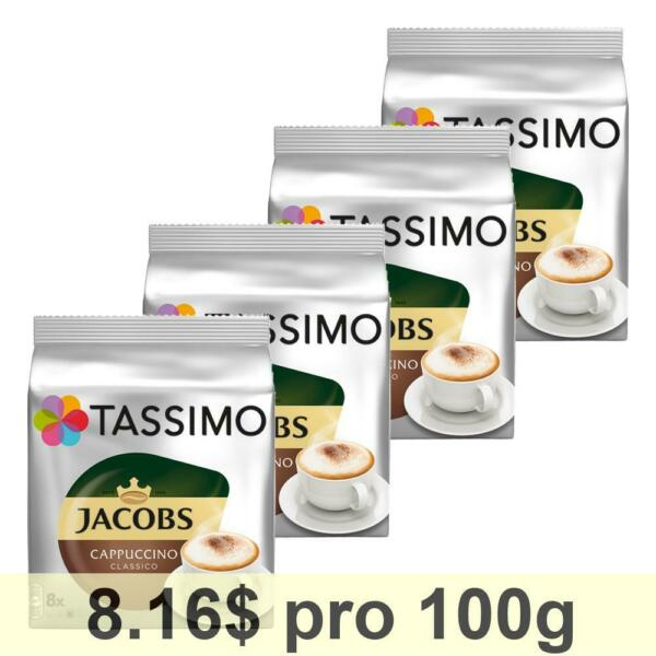 Tassimo Jacobs Cappuccino Rainforest Alliance 4 x 16 T-Discs (8 Servings)