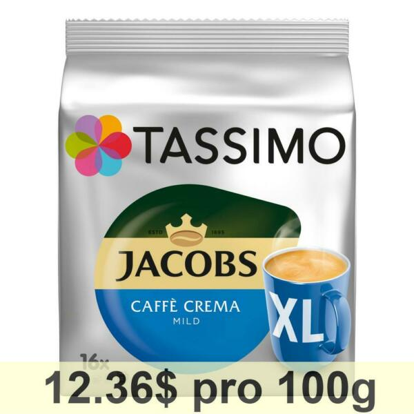 Tassimo Jacobs Caffè Crema Mild XL Capsules Roasted Ground Coffee 5x16 T-Discs