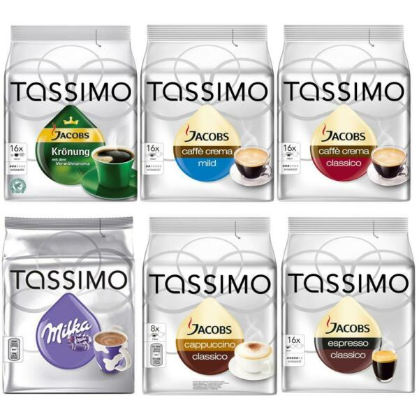 Tassimo T-Discs Set Coffee Capsules 6 Varieties Free Choice up to 96 Discs