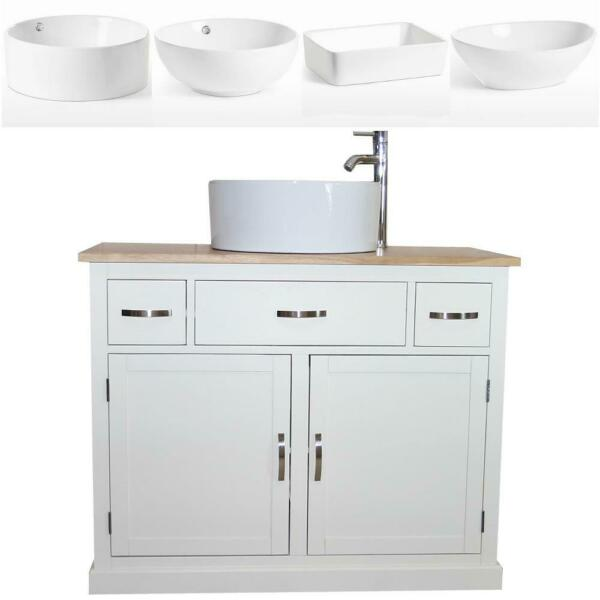 Bathroom Vanity Unit  White Cabinet Wash Stand with Ceramic Basin A