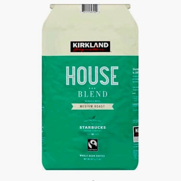 2 Lb Bag Kirkland House Blend Medium Roast Whole Bean Coffee By Starbucks 32 Oz