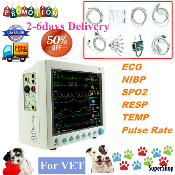 FDA Vet ICU Vital Sign Patient Monitor ECG NIBP SPO2 PR RESP TEMP Animal Machine